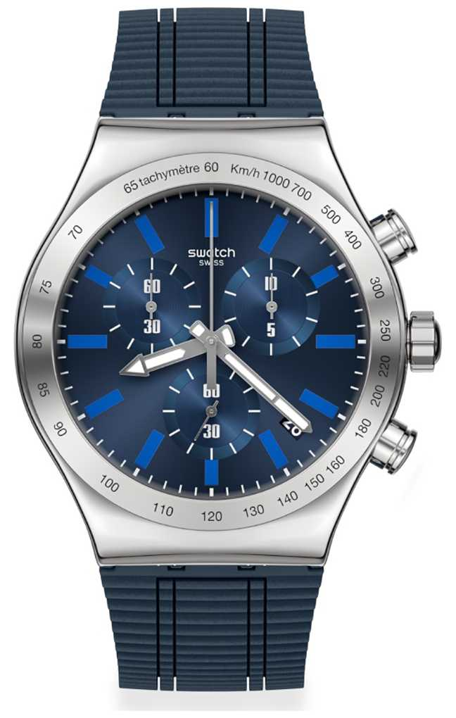 Swatch ELECTRIC BLUE | Blue Silicone Strap | Blue Dial YVS478
