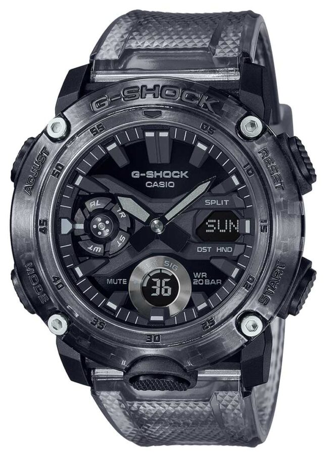 Casio G-Shock | Skeleton Grey Series | Grey Transparent Plastic Strap | Grey Dial GA-2000SKE-8AER