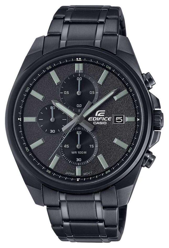 Casio Edifice All Black IP | Black Stainless Steel Bracelet | Black Dial EFV-610DC-1AVUEF