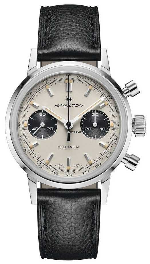 Hamilton IntraMatic – Mechanical Chronograph | Black Leather Strap | White Dial H38429710