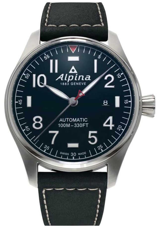 Alpina Men's Smartimer Pilot Auto | Black Leather Strap | Dark Blue Dial AL-525NN4S6