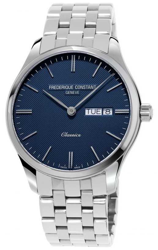 Frederique Constant Men's Classic Quartz | Stainless Steel Bracelet | Blue Dial FC-225NT5B6