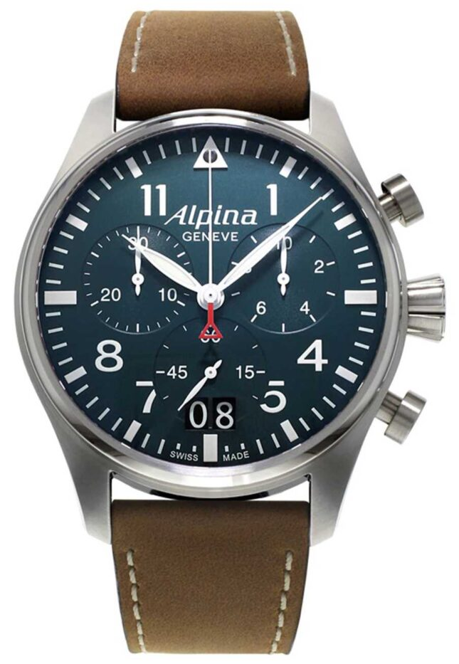 Alpina Men's Smartimer Pilot Chrono | Brown Leather strap | Blue Dial AL-372N4S6