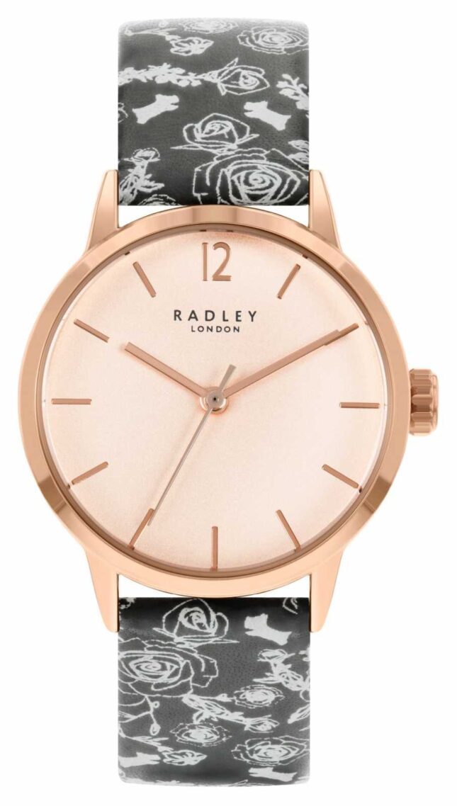 Radley Women's Black Pattern Strap | Rose Dial RY21246A