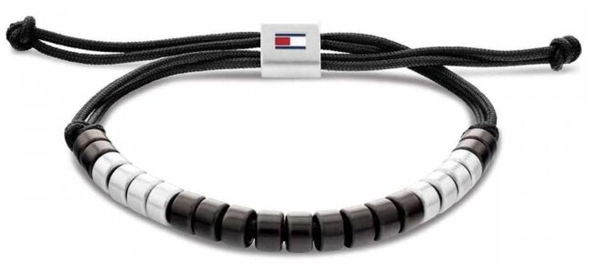 Tommy Hilfiger Men's Black Nylon Beaded Bracelet 2790292