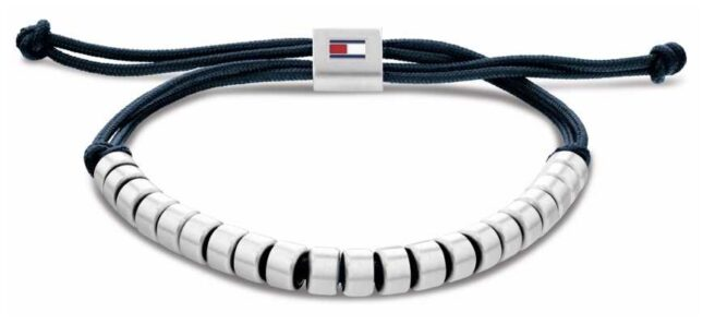 Tommy Hilfiger Men's Casual Blue Nylon Beaded Bracelet 2790291