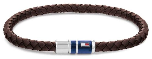 Tommy Hilfiger Men's Casual Brown Leather Braided Bracelet 2790295
