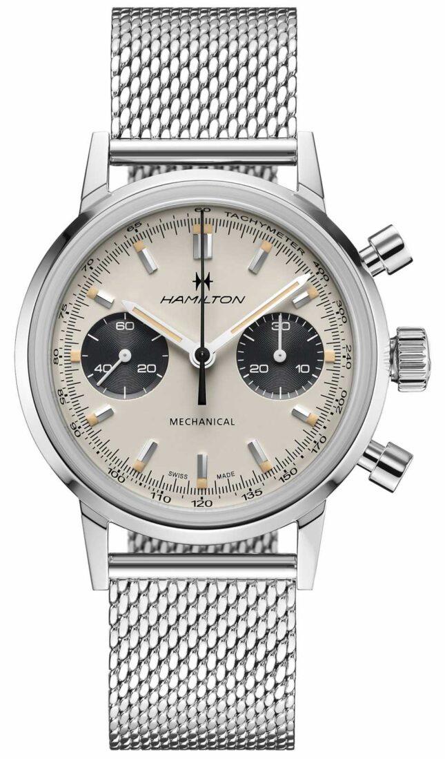 Hamilton IntraMatic – Mechanical Chronograph   Silver Mesh Strap   White Dial H38429110