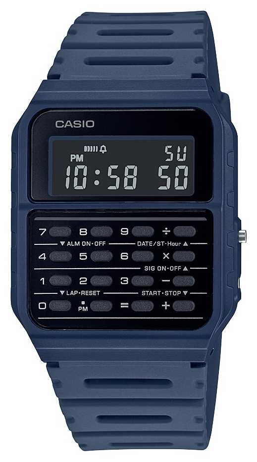Casio Retro Calculator Watch | Blue Resin Strap | Black Dial CA-53WF-2BEF