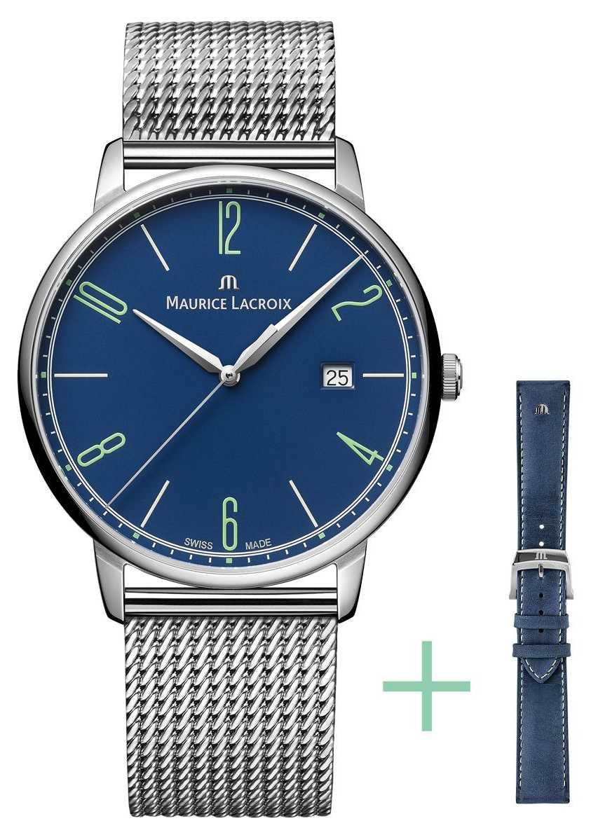 Maurice Lacroix Eliros 25th Anniversary 40mm Date Strap Set Blue EL1118-SS00E-420-C