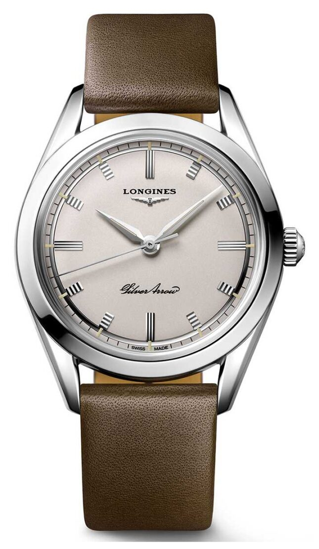 Longines | Heritage | Silver Arrow | Brown Leather Strap L28344722