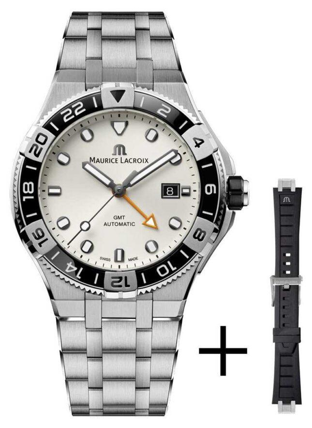 Maurice Lacroix Aikon Venturer GMT 43mm | White Dial | Strap Set AI6158-SS00F-130-A