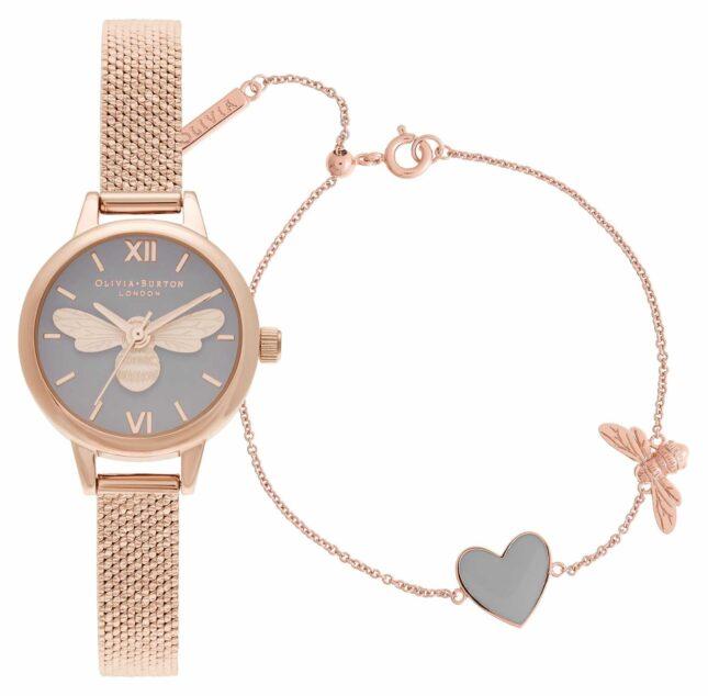 Olivia Burton You Have My Heart Rose Gold Watch & Bracelet Giftset OBGSET148
