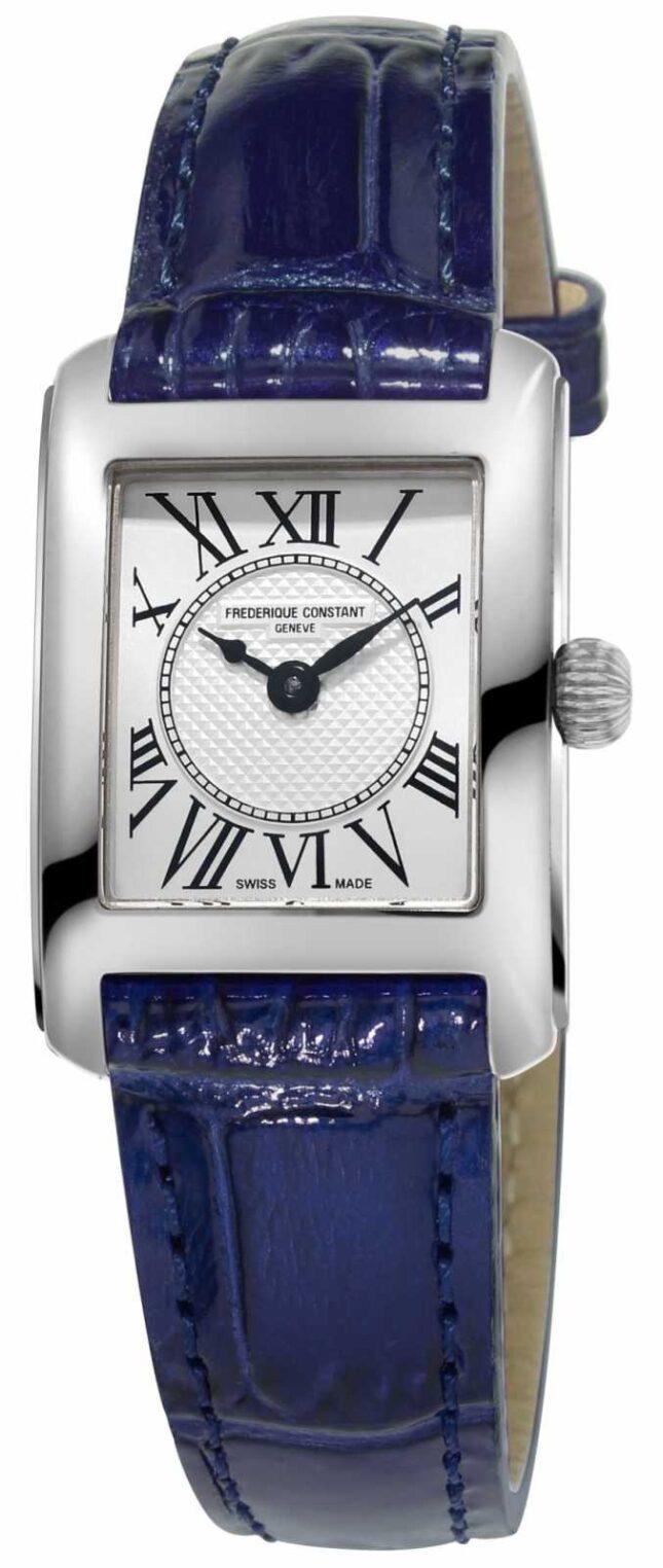 Frederique Constant Womens Carree Blue Leather Strap Silver Dial FC-200MC16