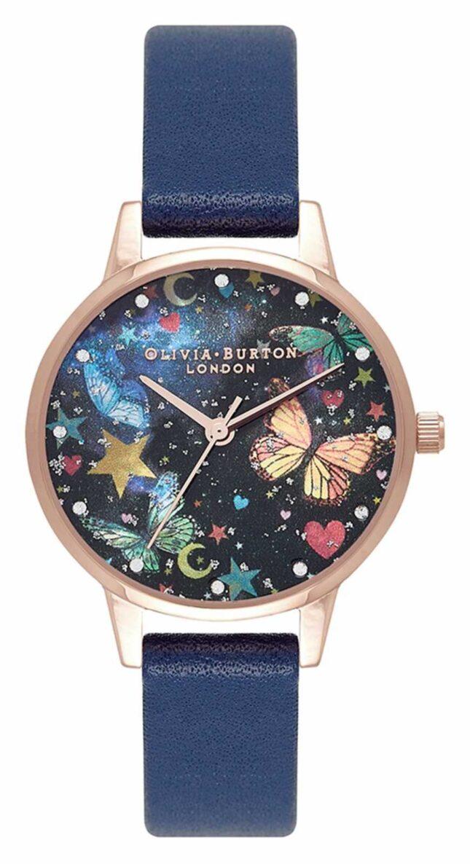 Olivia Burton Midi Night Garden Butterflies Navy & Rose Gold OB16WG81