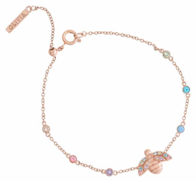 Olivia Burton Rainbow Bee Rose Gold Chain Bracelet OBJAMB161