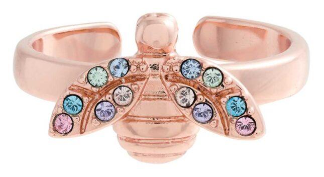 Olivia Burton Rainbow Bee Rose Gold Ring OBJAMR110