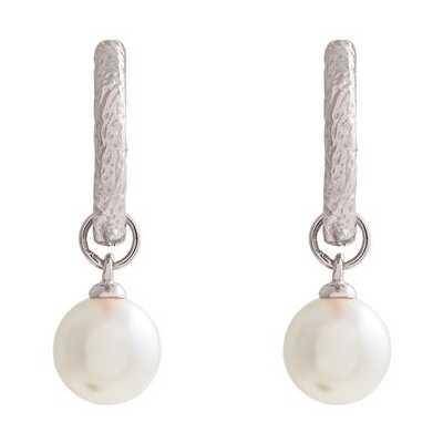 Olivia Burton Antique Pearl Charm Silver Hoops OBJCOE163