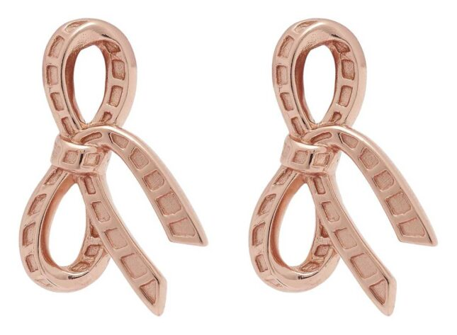 Olivia Burton Bow Stud Earrings Rose Gold OBJVBE36