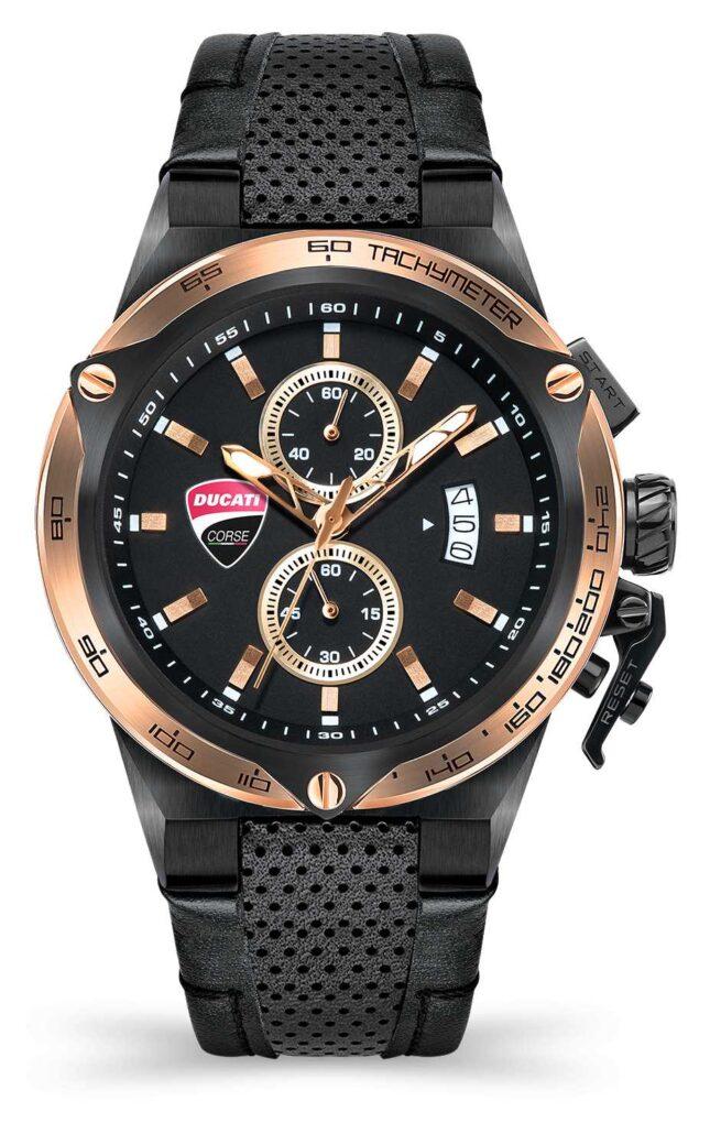 Ducati DT003   Chronograph   Black Dial   Black Leather Strap DU0066-CCH.B03