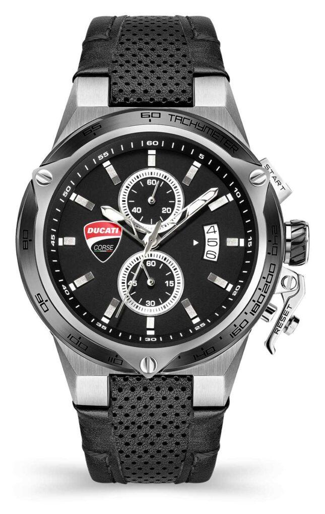 Ducati DT003   Chronograph   Black Dial   Black Leather Strap DU0066-CCH.B01