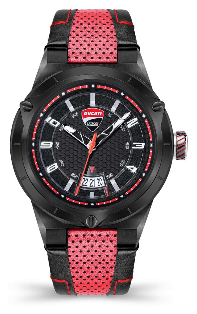 Ducati DT006   Black Dial   Red Leather Strap DU0072-3HE.A01