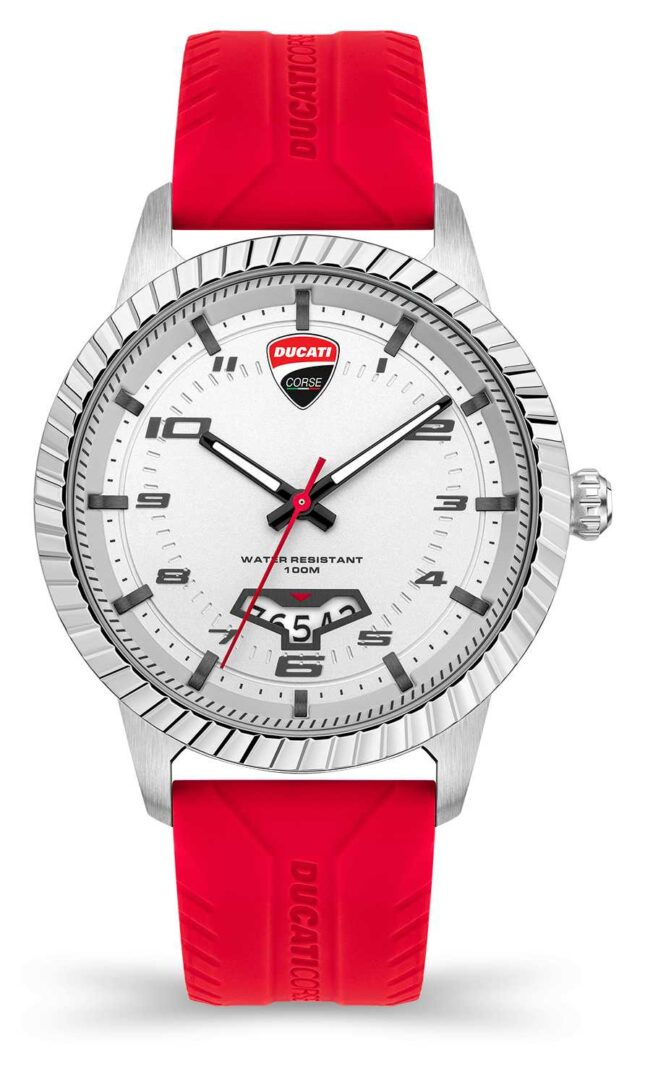 Ducati DT005   Silver Dial   Red Silicone Strap DU0069-3HS.C02