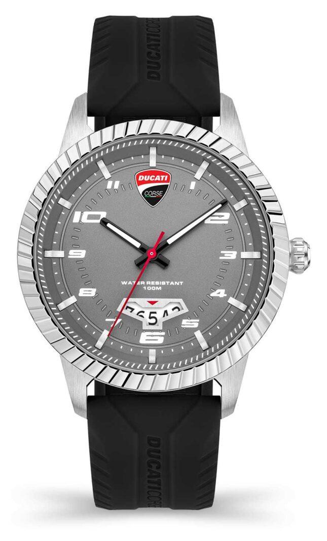 Ducati DT005   Grey Dial   Black Silicone Strap DU0069-3HS.C01
