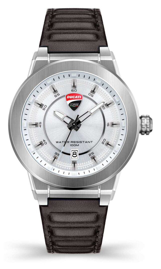 Ducati DT004   Silver Dial   Dark Brown Leather Strap DU0068-3HC.A04