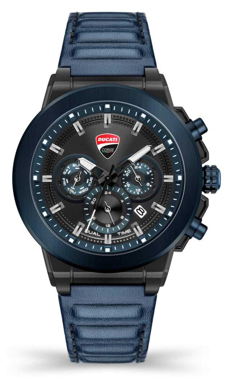 Ducati DT004 | Duel Time | Black Dial | Blue Leather Strap DU0068-CCH.A03