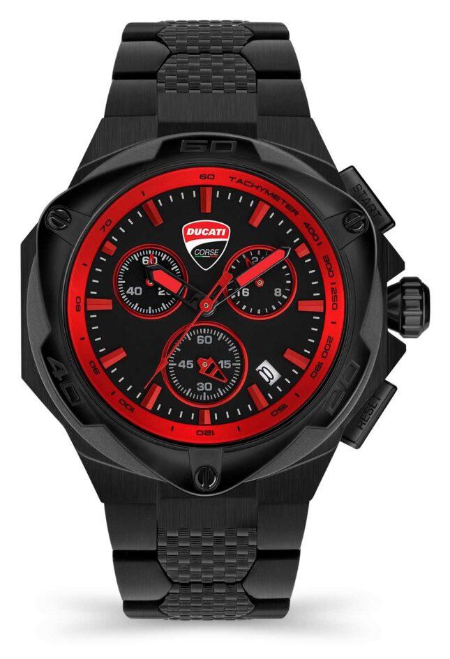 Ducati DT002   Chronograph   Black Dial   Black PVD Steel Bracelet DU0065-ECHB.B01