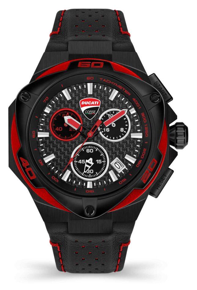 Ducati DT002   Chronograph   Black Dial   Black Leather Strap DU0065-ECH.A04
