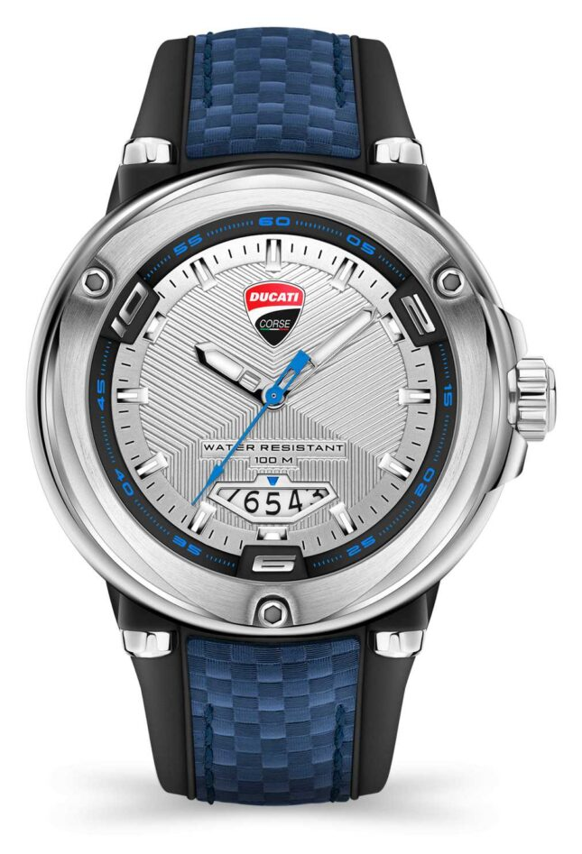 Ducati DT001   Silver Dial   Blue Silicone Strap DU0064-3HE.B03