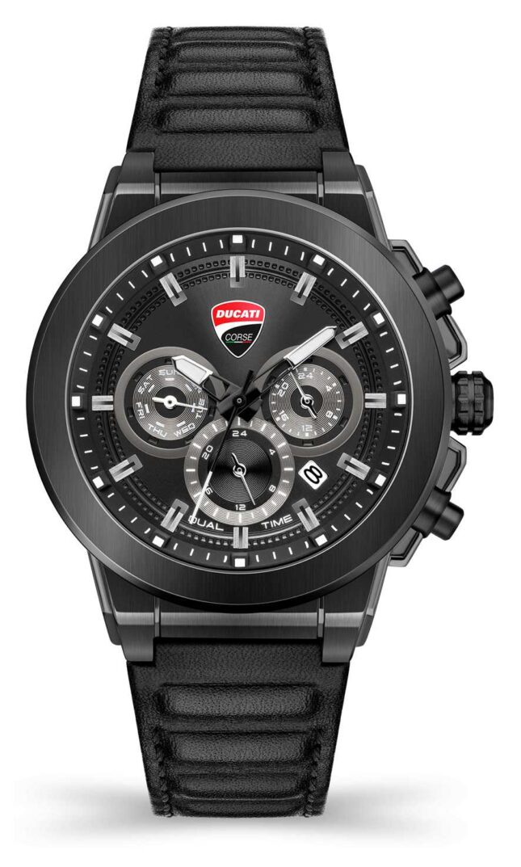 Ducati DT004   DuelTime   Black Dial   Black Leather Strap DU0068-CCH.A01