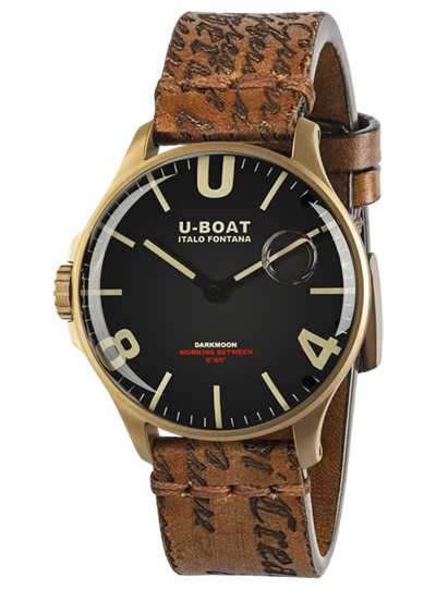 U-Boat DARKMOON 44MM BLACK IP BRONZE LEATHER STRAP 8467/A