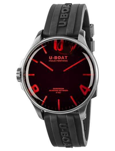 U-Boat DARKMOON 44MM RED GLASS SS Black Rubber Strap 8465/A