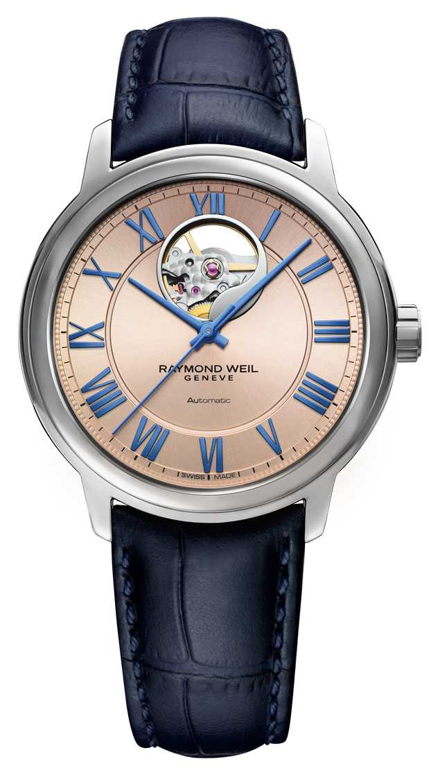 Raymond Weil Maestro | Automatic | Pink Copper Dial | Blue Leather Strap 2227-STC-00808