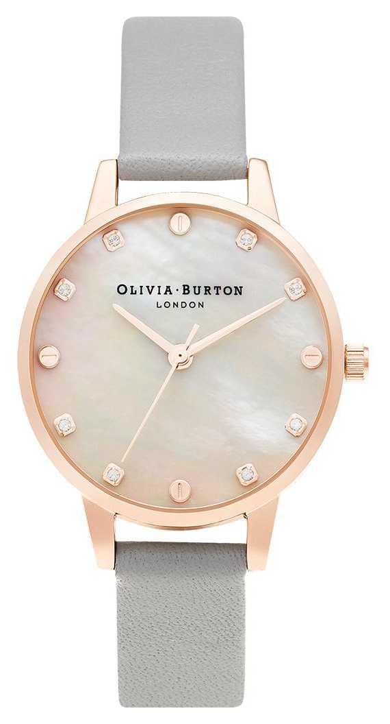 Olivia Burton   Midi MOP Dial With Screw Detail   Grey & Rose Gold   OB16SE12