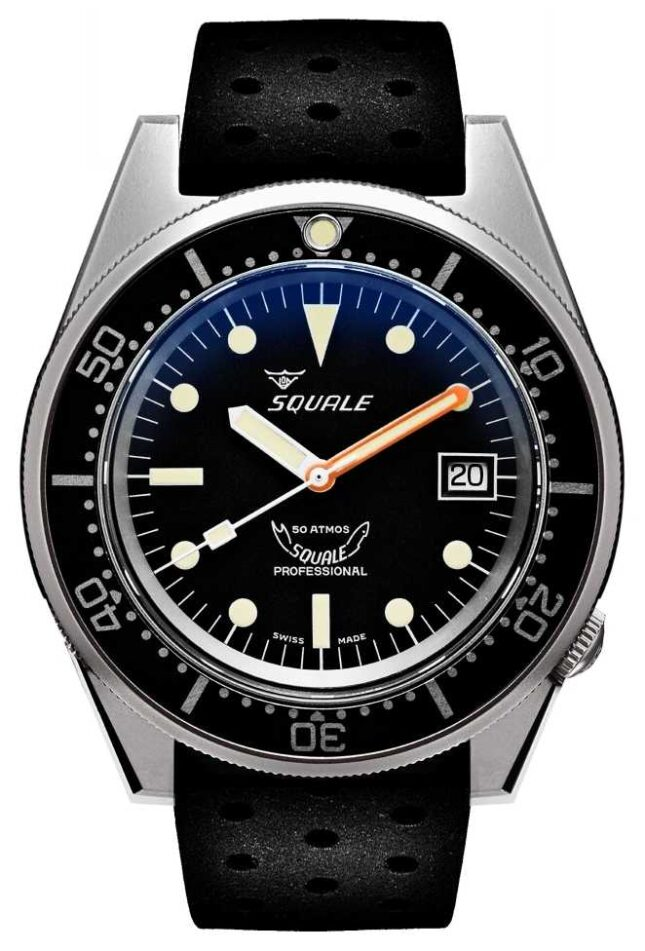 Squale 1521 BLACK BLASTED | Automatic | Black Dial | Black Silicone Strap 1521BKBL.NT-CINTRB20