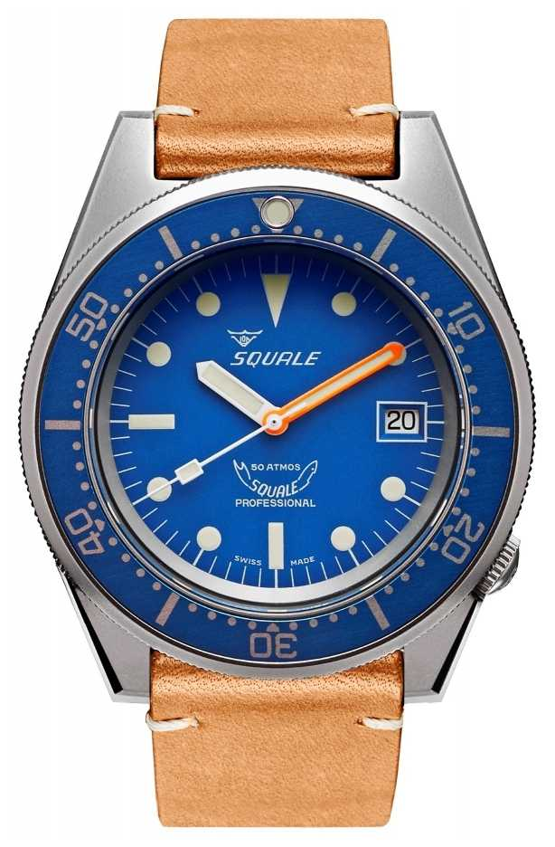 Squale BLUE BLASTED | Automatic | Blue Dial | Brown Leather Strap 1521BLUEBL.PC-CINVINTAGE