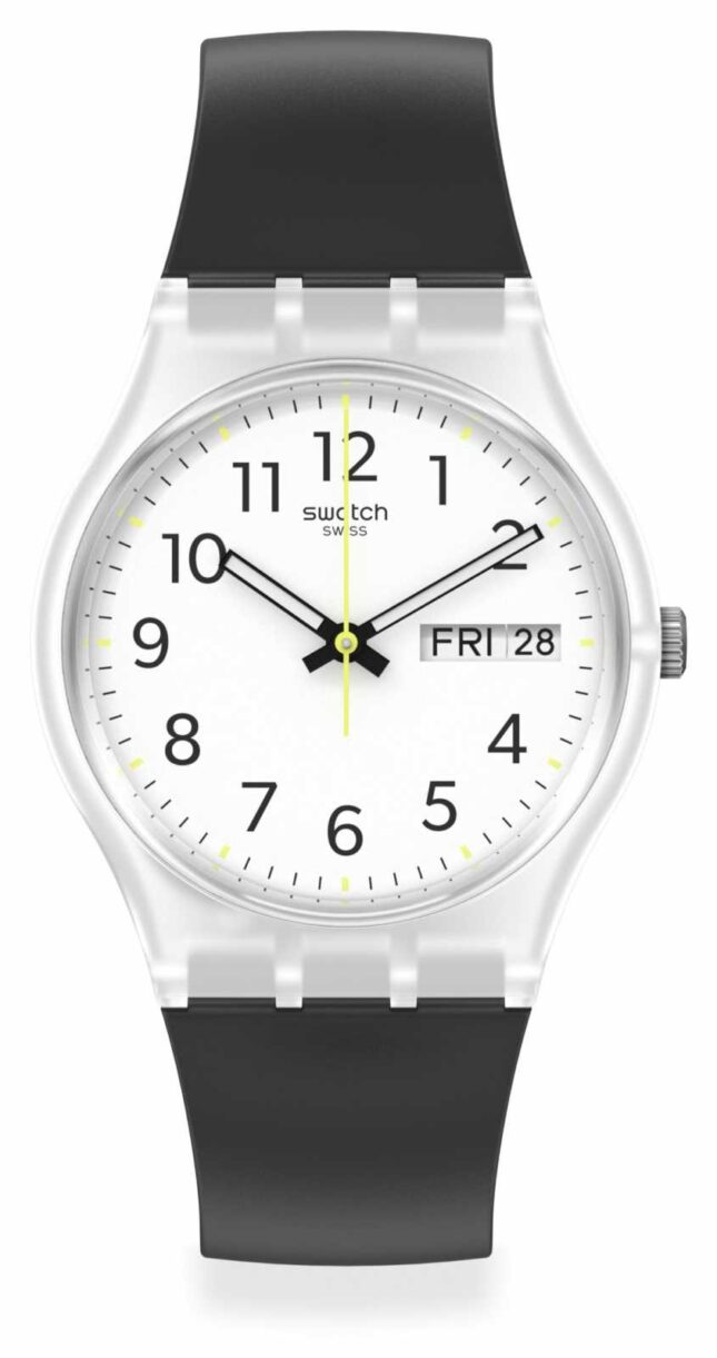 Swatch RINSE REPEAT | White Dial | Black Silicone Strap GE726