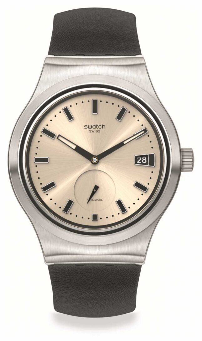 Swatch UNAVOIDABLE   White Dial   Black Leather Dial SY23S408