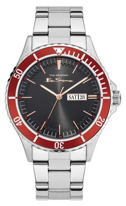 Ben Sherman Men's Stainless Steel Bracelet Black Sunray Dial BS045SM