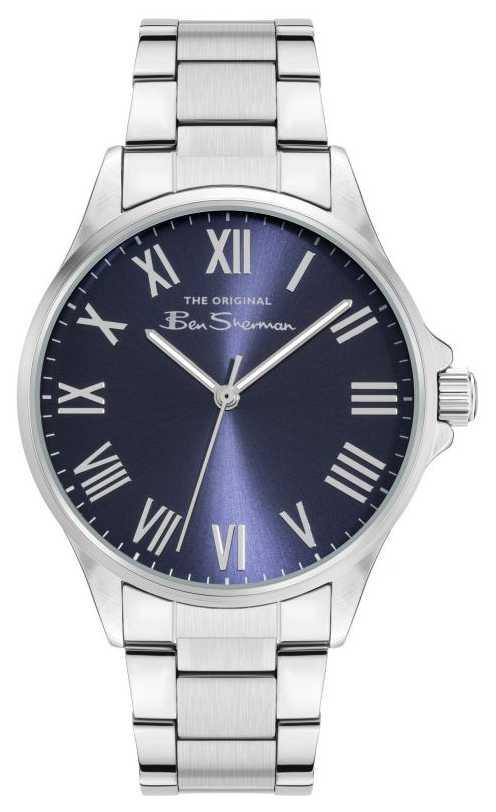 Ben Sherman Men's Silver Stainless Steel Bracelet Navy Dial BS050USM