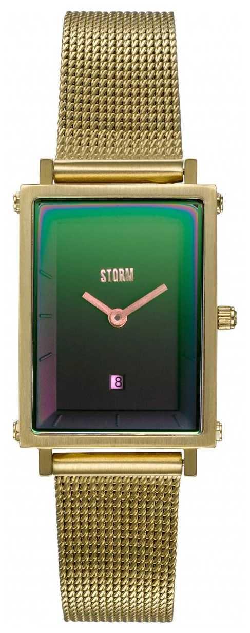 STORM Issimo Gold Lazer Green   Gold Steel Mesh Bracelet   Green Dial 47489/GD/GN