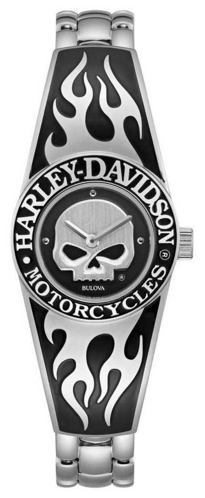 Harley Davidson Women's Flaming Willie G Skull Dial | Stainless Steel Bangle Bracelet 76L190