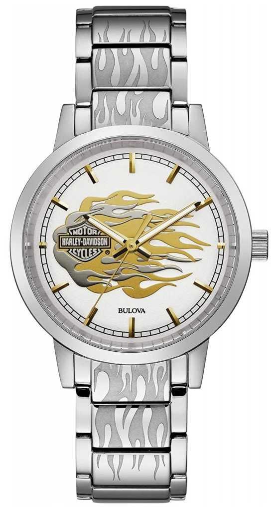 Harley Davidson Women's Flames | Stainless Steel Bracelet | Silver Dial 76L191