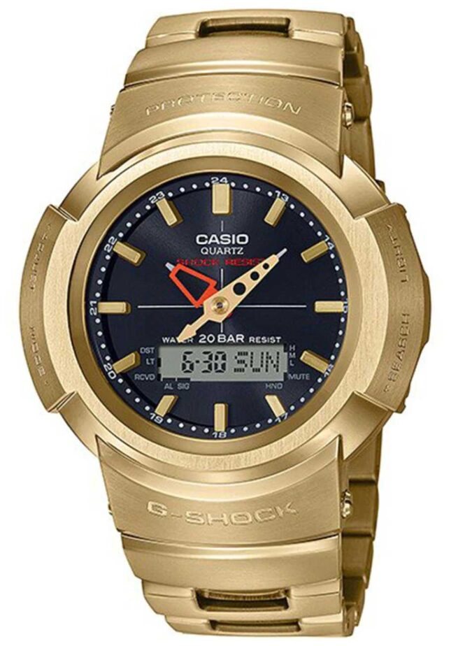 Casio G-Shock | Full Metal Bracelet | Gold Plated | Radio Controlled AWM-500GD-9AER