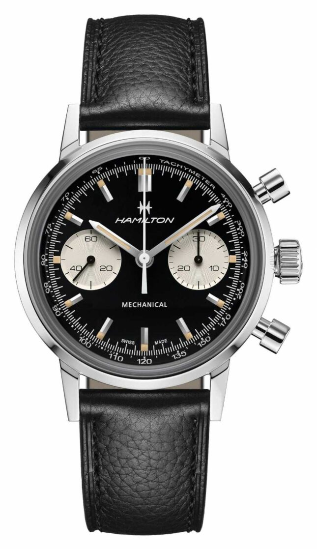 Hamilton IntraMatic | Mechanical | Chronograph | Black Dial | Black Leather Strap H38429730