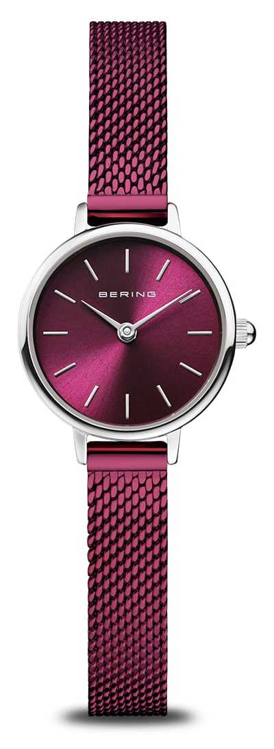 Bering Classic | Women's | Polished Silver | Purple Mesh 11022-909